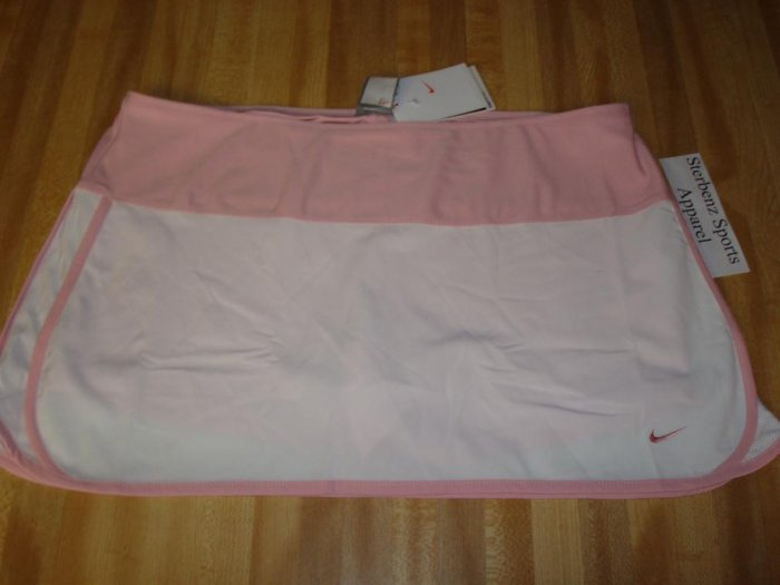 Nwt M NIKE Women CONTROL TEMPO Tennis Skirt New $50 Medium White Sheen Pink