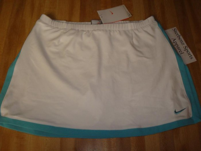 Nwt L NIKE Women Fit Dry BORDER Tennis Skirt New $50 Large White Tropical Teal