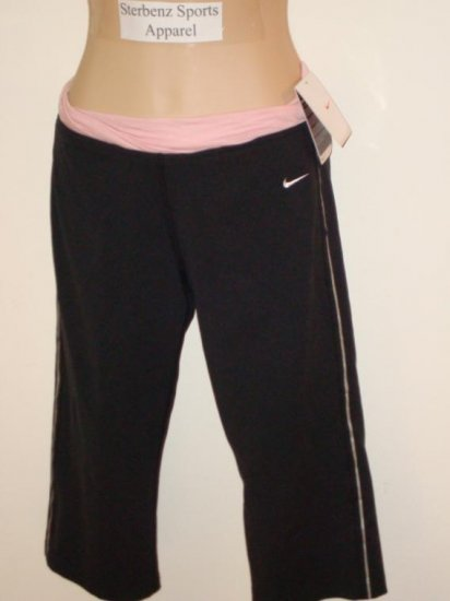 Nwt S NIKE Fit Dry Women Twisted Align Capri Pants New Small Black Pink