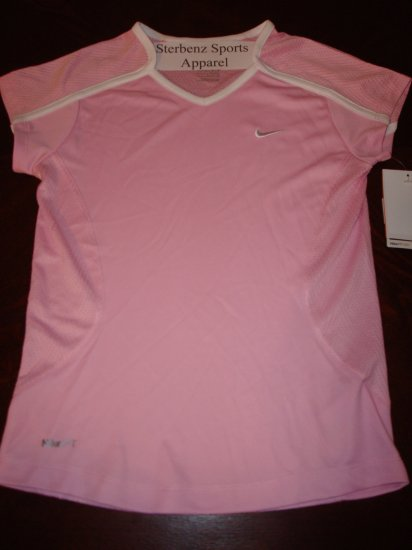 Nwt M 10 12 NIKE GIRL Fit Dry Pink Tempo Shirt Top New  #228432-646
