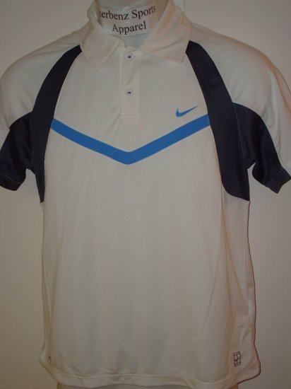 Nwt M NIKE Boys Fit Dry Control Tennis Polo Top New $38 Medium White 243887-100