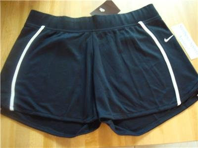 Nwt M 8-10 NIKE Women Black WhT WorkOut Shorts New $30 Medium 238714-010