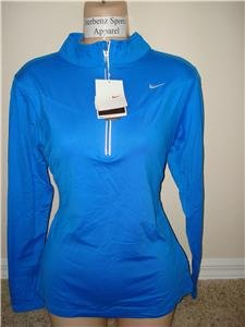 Nwt M NIKE Women Fit Dry Blue Base Layer Top Shirt New Medium 228616-477