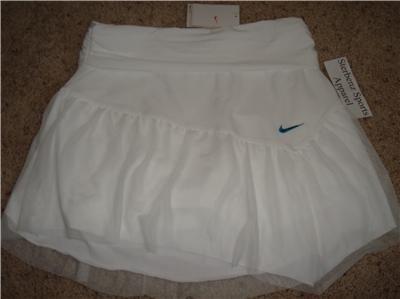Nwt M NIKE Women Fit Dry White Tennis Skirt New $55 Medium 215122-100