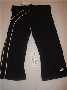 Nwt XS NIKE Women Fit Dry Black Fitness Capri Pants New Xsmall 206791-010