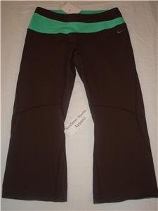 Nwt M NIKE Women Fit Dry Athlete Capri Pants New Brown MEDIUM 127817-237