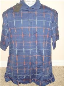 Nwt L NIKE Golf Men Blue Pattern Polo Shirt Top New Large 194479-456