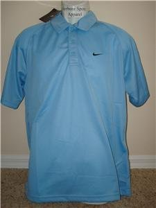 Nwt L NIKE Men Light Blue Fitness Polo Shirt Top New Large 214482-445