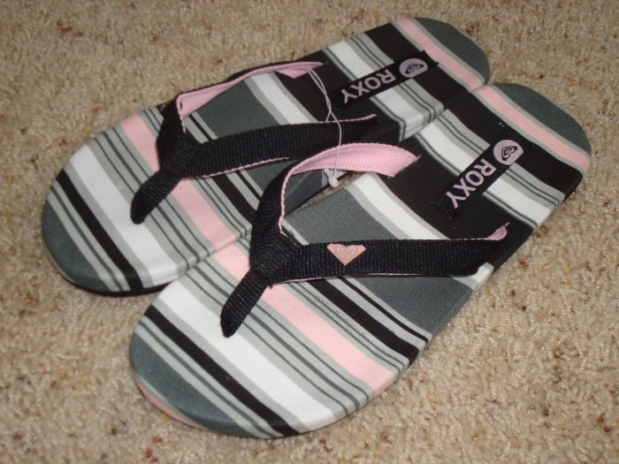 New 8 ROXY Women KABUKI Flip Flops Sandals Shoes Stripe