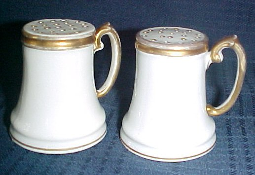 Nippon Salt & Pepper Shakers White with Gold Trim Handles & Top Japan