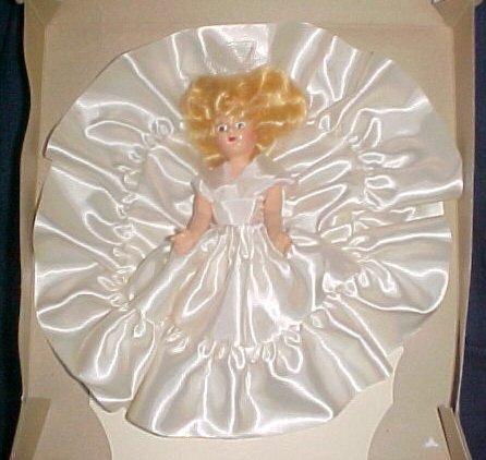 "Vintage Hard Plastic 7"" Fashion Bride Doll White Satin Dress Sleep Eyes Blonde Hair Original Box"
