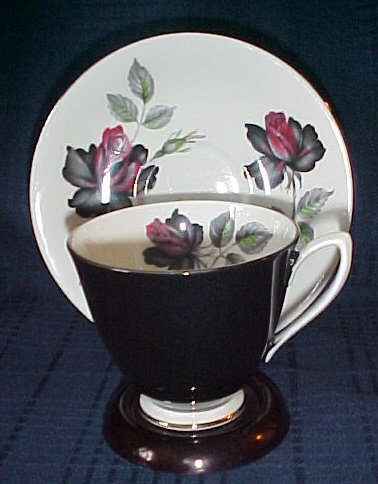 Royal Albert Masquerade Footed Cup & Saucer Black Tea Cup Black & Maroon Roses Platinum Trim