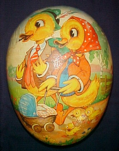 "Large 16"" Paper Mache Easter Egg Duck Family Out For a Walk - Use as a Basket"
