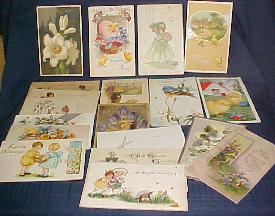 19 Easter Postcards 1910-1930's Tuck & German, Paris - Children, Bunnies, Chicks