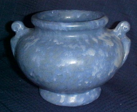 "McCoy Onyx Matte Blue Jardiniere 6"" Planter 1930's Two Handles Mottled"