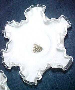 """2 Fenton Silvercrest Double Crimp Milk Glass Bonbon Paper Worker's Label 6"""""""