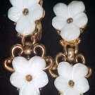 Vintage Trifari Molded Glass Clip-on ClipMate Drop Dangle Earrings White Flowers Gold-tone Setting