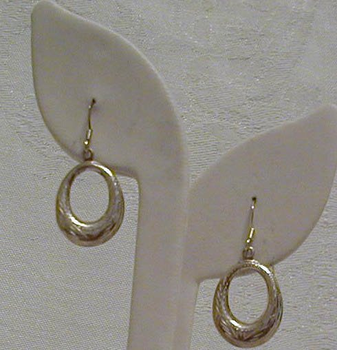 Serling Silver etched oval hoops on wires, NEW