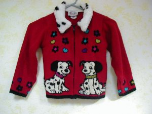Girls red sweater with Dalmation dogs, long sleeve, size 4 (small) by Heartworks