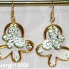 Bling Butterfly Clover CZ Gold Plate Dangle Earrings
