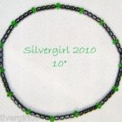Natural Black Hematite Emerald Green Beaded Anklet