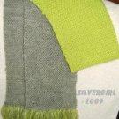 "7"" x 62"" Long Hand Knit Bright Green Grey Scarf"