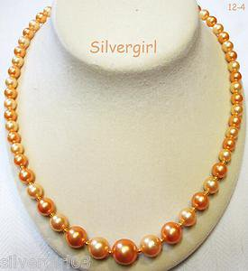 Redone Vintage Imitation Pearl Gold Plated Champayne Beaded Necklace