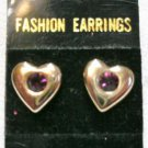 1 Pr Gold Puff Heart Earrings Purple Stone