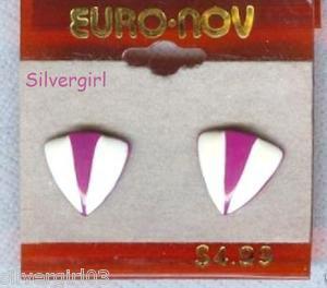 1 Pr Purple White Triangle Pierced Stud Earrings