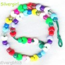 Kids Multi Colored Sparkly Beaded Hearts Necklace