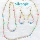 Multi Color Flower Bead Necklace 3 Piece Set