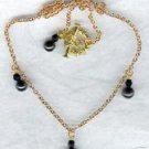 Magnetic Black Beaded Brass Chain Czech Glass Necklace