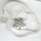 "18"" White Stag Purple Rhinestone Star Necklace"