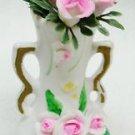 """Vintage Porcelain Bisque Roses & Vase 3 7/8"""" Tall"""