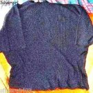 Black Ribbed Short Sleeve Stretch Ladies Top  SIZE 46