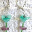 Single Stem Green Purple Flower Earrings