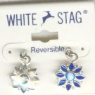 White Stag Reversable Blue Rhinestone Flower Earrings