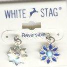 White Stag Reversable Blue Rhinestone Flower Earrings