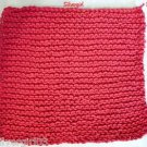 Soft Hand Knit Cotton Dish Face Cloths Bright Red