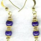 Royal Crown Purple Fossil Gold Beaded Earrings