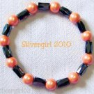 Magnetic Hematite Gemstone Stretch Bracelet Orange Blk