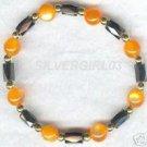 Magnetic Hematite Orange Fiber Optic Bracelet