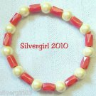 Magnetic Hematite Gemstone Stretch Bracelet Cream Red