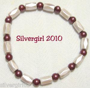 Magnetic Hematite Gemstone Bracelet Mauve Burgundy