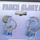 Faded Glory Silver Hoops With Blue Beads