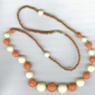 "30"" Vintage Plastic Brown and Cream Beaded Necklace"