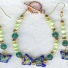 Butterfly FW Pearl Cloisonne Bracelet Earring Set