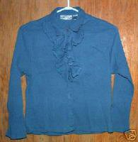 Dusty Blue Crinkled Ruffle Vintage Blouse   SZ M
