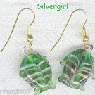 Emerald Green and Gold Lampwork Fish Earrings