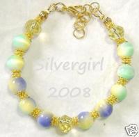 Fiber Optic Rainbow Yellow Crystal Bracelet